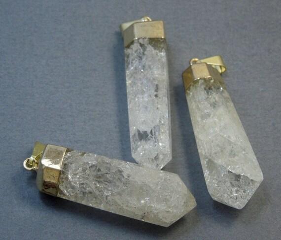 Light Tan Crystal Quartz Point Pendant With Gold