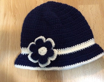 Knit Girl Baby Brim Cloche Hat With Flower