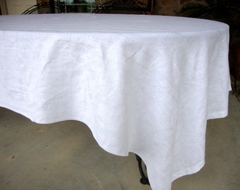 Vintage tablecloth linen damask white on white
