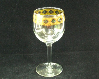 Culver Ltd VALENCIA Wine Glass Stem Goblet - Green Scrolls w/  22K Encrusted Gold