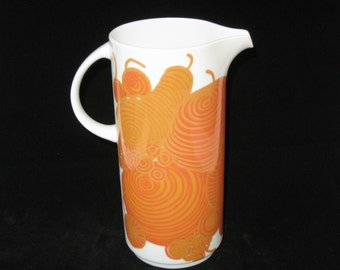 Thomas Rosenthal China Groovy Orange Op Art Pitcher - Mid Century Modern German Porcelain
