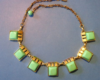 Turquoise THERMOSET NECKLACe 50's great geometric lucite square Vintage Jewelry
