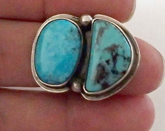 Native American Navajo Turquoise two Stone Ring size 6
