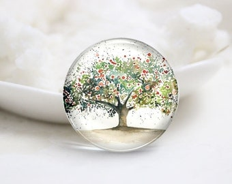 10mm 12mm 14mm 16mm 18mm 20mm 25mm 30mm Handmade Round Photo Glass Cabochons Cover-Tree (P1306)