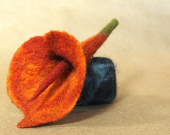 Felted Burnt Orange Cala Lily Pin/Boutineer