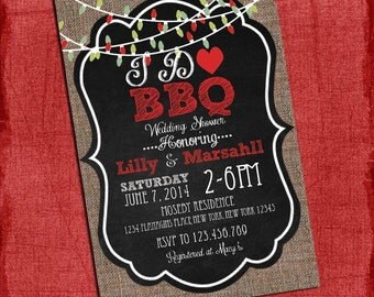 "Holiday Christmas Style ""I Do"" BBQ Barbecue Couples/Coed Wedding Shower Invitation- I Design, You Print"
