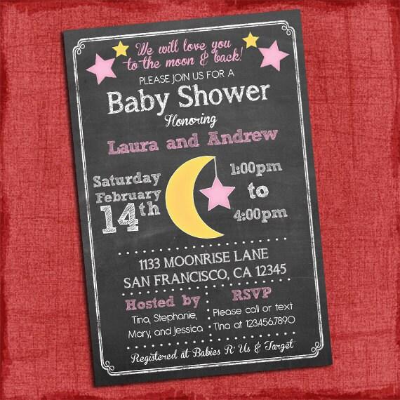 Printable Moon Stars Theme Baby Shower Invitation Baby Girl