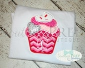 Cupcake with Hearts Design - Valentine's Day Applique Shirt - Girl's Holiday Shirt