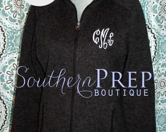 Monogrammed Full Zip Heathered Fleece Jacket  - Charles River Brand
