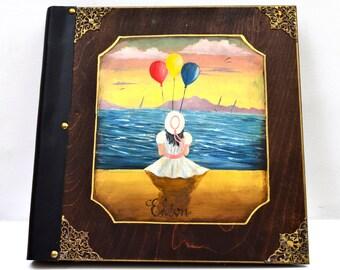 Children scrapbook, baby shower album, custom scrapbook, children album, hand painted album, children photo book, hard cover album
