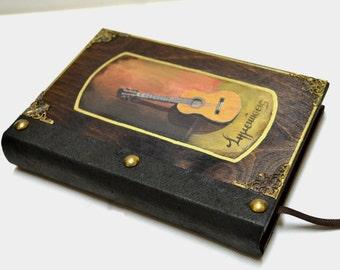 Music gift, blank journal, blank notebook, altered book, travel notebook, writing book, junk journal, writing notebook, music journal