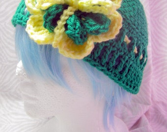 Green & Yellow Flower Hat