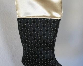 Christmas stocking   Victorian Christmas stocking    Black brocade satin Christmas stocking   Hand made in USA   Man Christmas stocking