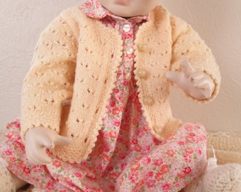 Hand Knit Baby Girl Sweater Cardie Eyelet Lace 6M 12M Wool Handmade Crochet Trim