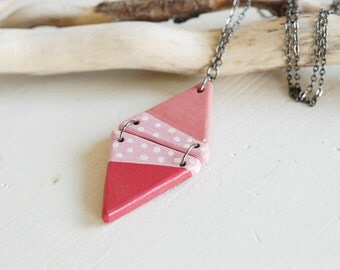 Long geometric necklace,wooden triangle necklace,red and coral necklace