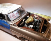 Gold Chrysler, Scale Model Car,Musclecar Model,Wrecked and Rusted