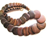 Brown wood necklace, Overlapping graduated wood disks, handmade necklace, lightweight 349