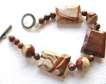 Red bracelet, Red Jasper trapezoids with Poppy Jasper, beaded bracelet, gemstones 120