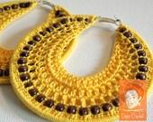Yellow crochet hoop earrings with wooden beads - crochet hoops - handmade crochet earrings