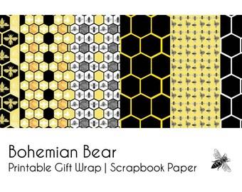 Honey Bee   HoneyComb   Mini Paper Sampler   Digital Download   Scrapbooking or Wrapping Paper   Printable