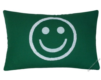 Green and White Smiley Decorative Throw Pillow Cover / Pillow Case / Cushion Cover / 12x18""