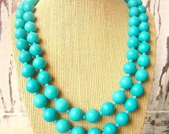 Double Strand Turquoise Necklace.Turquoise Statement Necklace.Turquoise Bridesmaid Jewelry.Beadwork Necklace. Bib Necklace.Turquoise Wedding