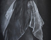 Wraith black and white drawing, colored pencil and gouache, framed original art, woman in veil, mixed media drawing, fine art, mystery.