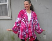 Purple and Pink Jacket, Tie-dyed, Waterfall Front, Size L/XL