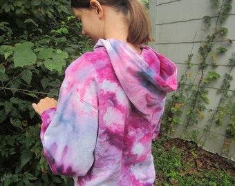 Child's Fleece Hoodie, Size 12, Fuschia, Blue, and Gray
