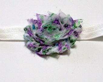 Baby Headband Shabby Flower Purple Color Headband White Fold Over Elastic
