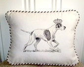 """shabby chic, feed sack, french country, vintage  pointer graphic with ticking stripe  welting 12"""" x 16"""" pillow sham."""