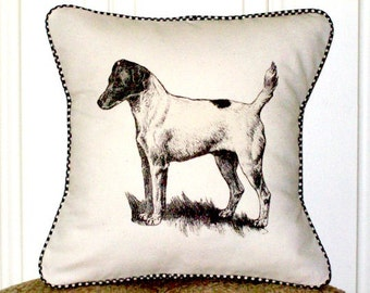 """shabby chic, feed sack, french country, vintage Jack Russel terrier gingham welting 14"""" x 14"""" pillow sham."""