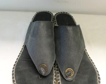 "Vintage 90s Wedge Sandalls Andre Assous Shoes Espadrilles 8.5 Navy Spain 2.5"" Heel Espadrilles Navy Blue"