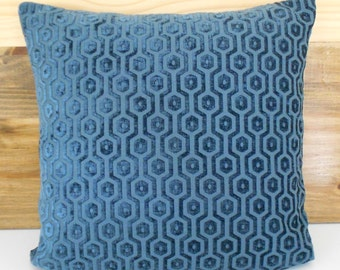 Dark teal geometric velvet decorative pillow cover
