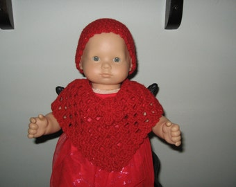 Hand-Crocheted Poncho & hat set for American Girl Bitty Baby doll Red sparkle