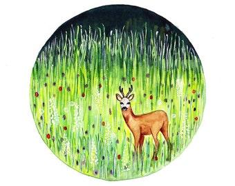 Roe Deer Original Watercolor painting Meadows at spring