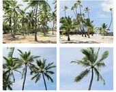 Palm trees photography print set of 4 -  hawaii palm trees print set - Hawaii home decor - Hawaii wall art - Palm trees photographs - Hawaii