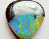 boulder opal designer cab red, blue and green  18.88 ct buff top drop koroit