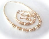 Gold pearl jewelry set ~ Swarovski pearls and Rhinestones ~ Necklace, bracelet and earring set ~ 3 Piece Set ~ Bridal Jewelry ~ ISABELLA