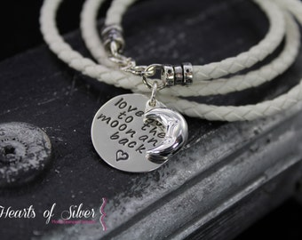 Leather Wrap Charm Bracelet- love you to the moon and back- Sterling Silver- Charm Bracelet-Handstamped Bracelet- Hand Stamped Jewelry