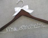 Wooden Wedding Hanger, Wire Wedding Hanger, Bridal Hanger with Bow, Personalized Hanger, Bride Hanger, Engagement Gift, Name Hanger