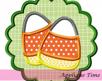 Instant Download Scallop Framed Candy Corn Machine Embroidery Applique Design 4x4, 5x7 and 6x10
