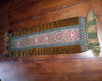 Antique French table runner long handmade velvet runner w tapestry embroidery fabric gold metallic trim w tassels 1900s French table linens