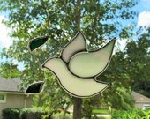 Peace Dove - Irridescent Opal Glass Suncatcher, Holiday Ornament or Package Embellishment
