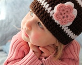 12 months Crocheted Photo Prop Football Hat with detachable flower for boy or girl 17 in. - IN STOCK