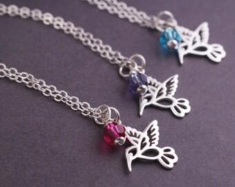 Spring Wedding, TWO Hummingbird Necklace Bridesmaid Jewelry