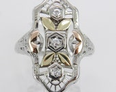 Vintage Diamond Ring Antique 18K Tri Color Gold Diamond Filigree Statement Ring Size 6.25 F VS