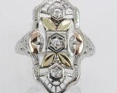 Vintage Diamond Ring Antique 18K Tri Color Gold Diamond Filigree Statement Ring Size 6.25 F VS