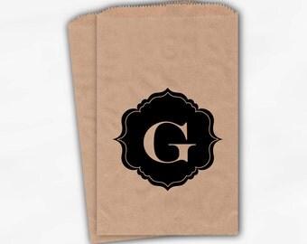 Black Monogram Candy Buffet Bags - Custom Kraft Paper Favor Bags Personalized with Initial - Brown Paper Treat Bags (0017)