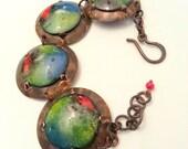 Copper enamel bracelet